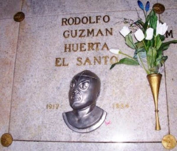 """Rudolfo Guzman Herta """"El Santo"""" World famous Mexican wrestlers mausoleum crypt. Buried wearing his famous silver mask, Santo """"El enmascarado de plata"""" was celebrated by fans with one of the worlds largest funerals."""