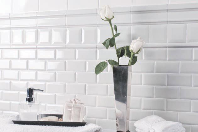 bathroom with white subway tiles - Google Search