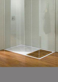 Studio Walk In Shower Tray With Wooden Insert