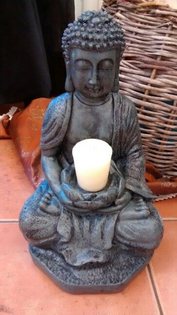 Buda flor de loto porta vela, pintura acrílica efecto piedra. Meditación.