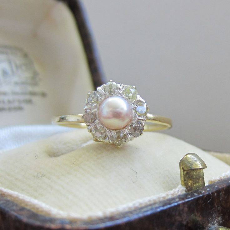 antique pearl and diamond ring.