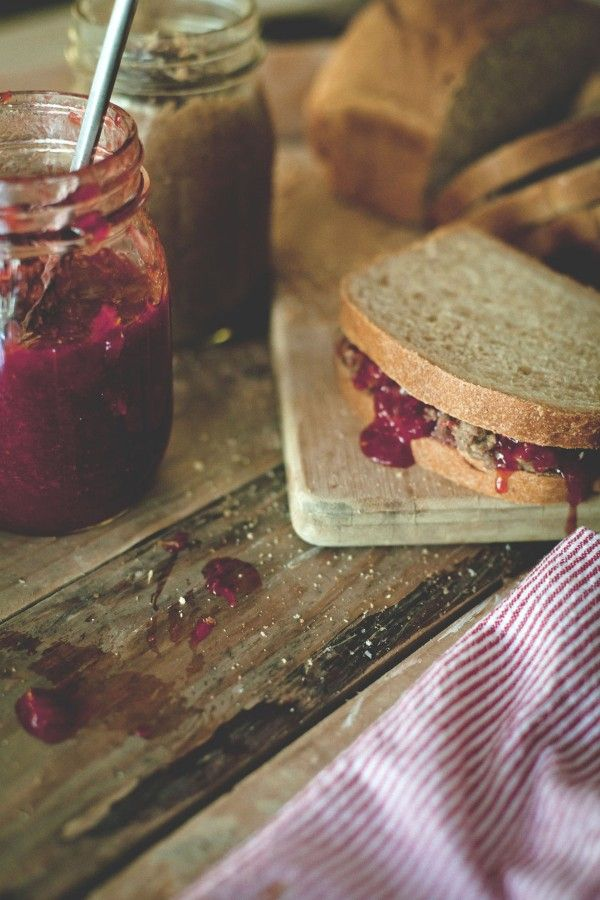 Pecan butter and strawberry jam sandwich