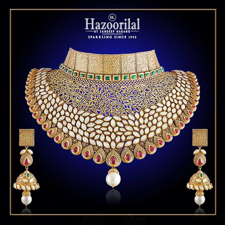 Glittering Gold. A Bridal masterpiece in #22k gold and #Kundan from the House of…