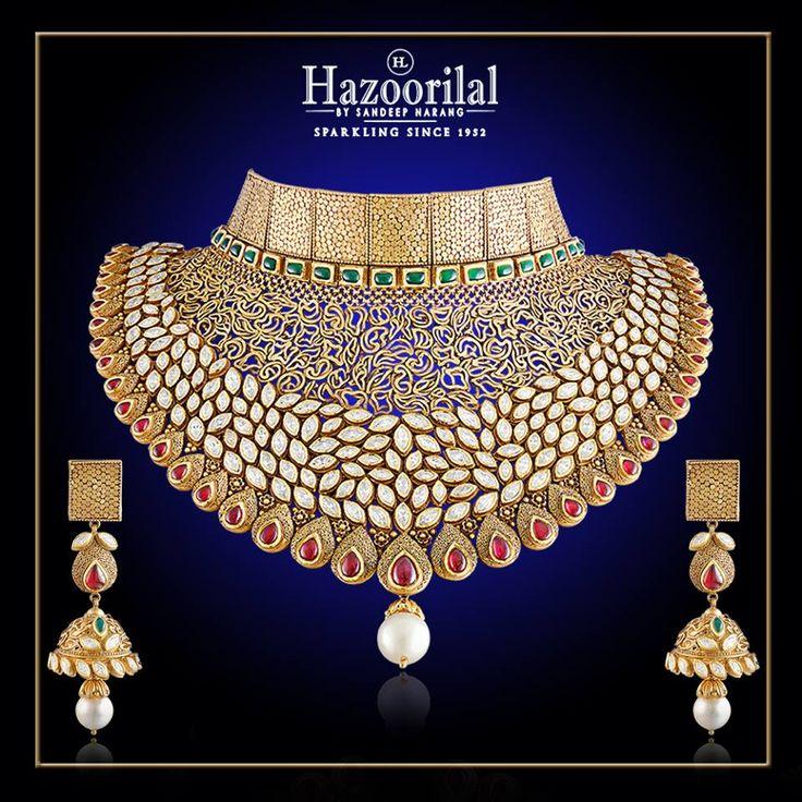 Glittering Gold. A Bridal masterpiece in #22k gold and #Kundan from the House of #HazoorilalBySandeepNarang #GoldJewellery #BridalJewellery #IndianJewellery #IndianBride #hazoorilal