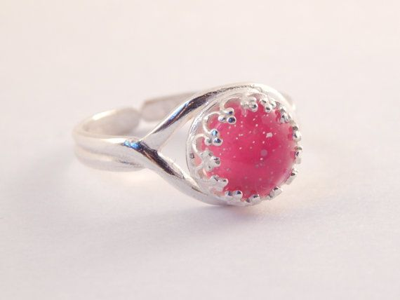 Moon Dust Sterling Silver Mood Ring - Pink Stone Ring - Sterling Silver Rings - Handpainted Rings - Mood Rings - Mood Jewelry