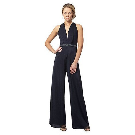No. 1 Jenny Packham Navy embellished waist jumpsuit | Debenhams