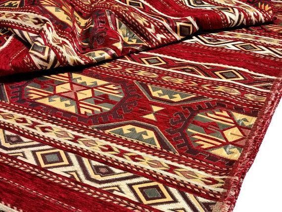 SALE!!!by the Meters,Yards,Tulips,Chenille,Jacquard, Ethnic,Tribal,Turkish,Ottoman Chenille Upholstery Fabric, Velvet, Kilim Fabric,Red