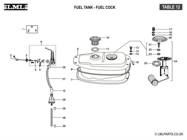 (12) FUEL TANK-FUEL COCK LEVER - Tasso LML Scooter Spare Parts