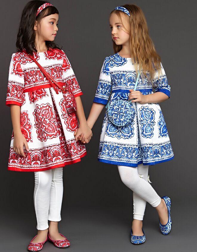Natal Vestido Da Menina 2015 Inverno wlmonsoon linha Maquineta Padrão de Impressão Vestidos Da Menina Do Bebê 3/4 Manga Princesa roupas Vestido WJ83 em Vestidos de Mãe & Kids no AliExpress.com | Alibaba Group
