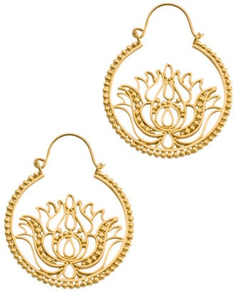 ShopStyle: Dream Mullick Small Gold Lotus Hoop Earrings