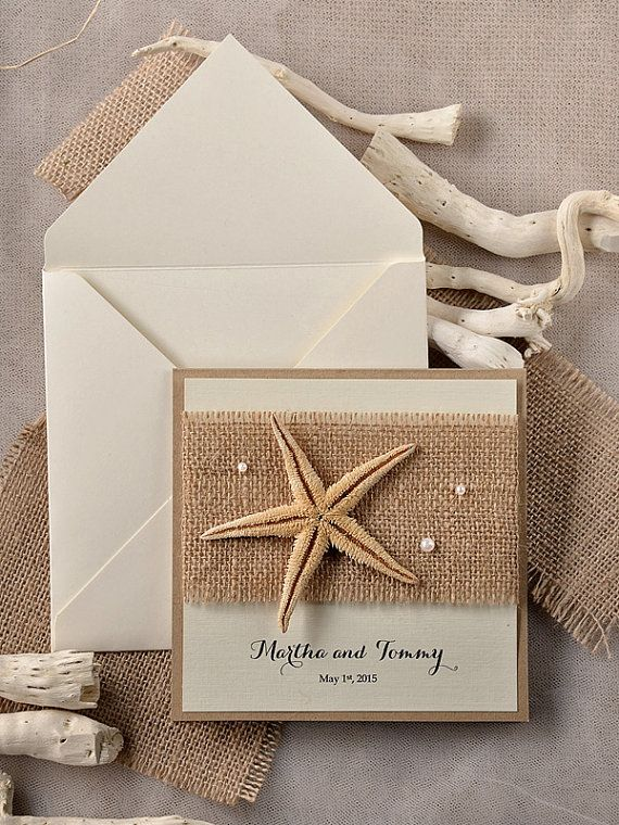 Beach Wedding Invitations,Seastar  Wedding Invitation, Destination Wedding Invitation, Destination Invitations, Burlap Rustic Invitations on Etsy, $6.85 CAD