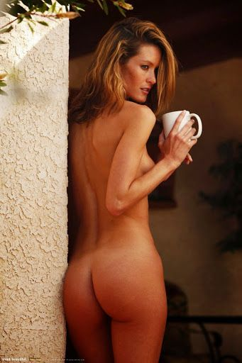 Naked woman drinking morning coffee congratulate