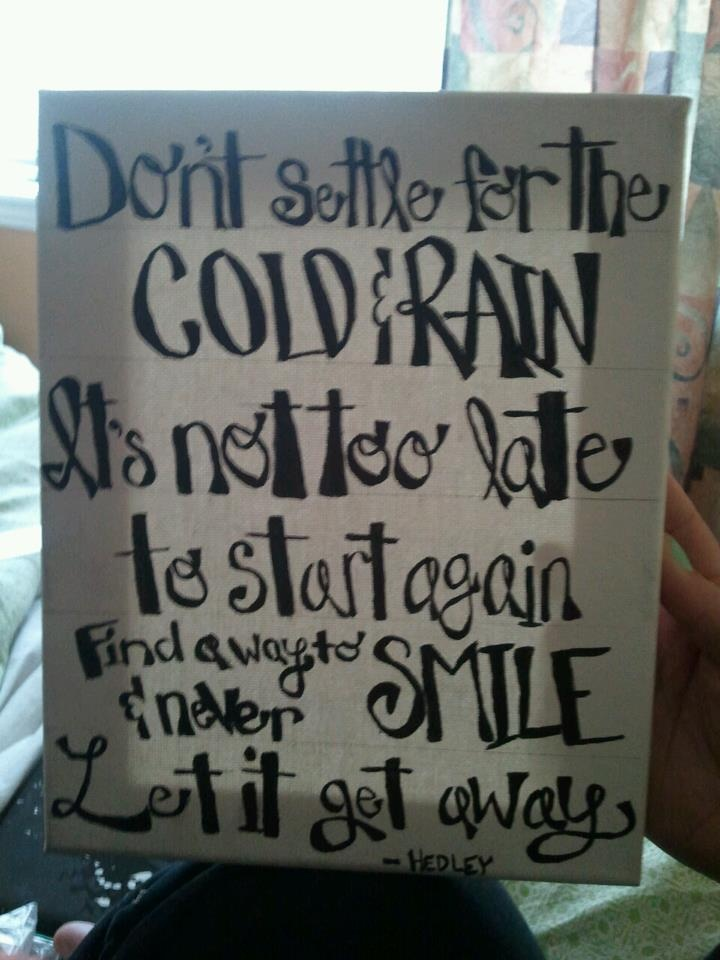 Painted fave lyrics to a canvas! They are the lyrics to Never Too Late by Hedley <3