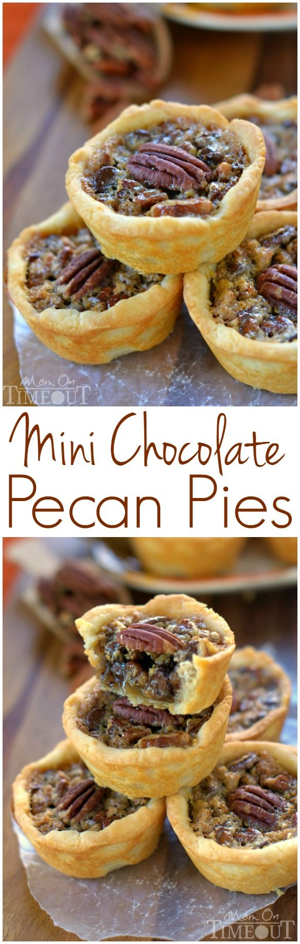 These Mini Chocolate Pecan Pies are a dream come true for the holidays! Sweet chocolate morsels are the perfect addition to traditional pecan pie and everybody loves this mini version! | MomOnTimeout.com | #dessert #ChallengeButter #PinaRecipeFeedaChild