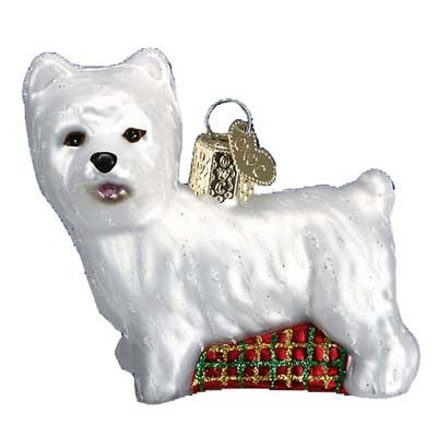 """Westie Dog Christmas Ornament 12251 Merck Family's Old World Christmas *Ornament does not come in a box Ornament measures approximately 2 1/2"""" and made of mouth blown, hand painted"""