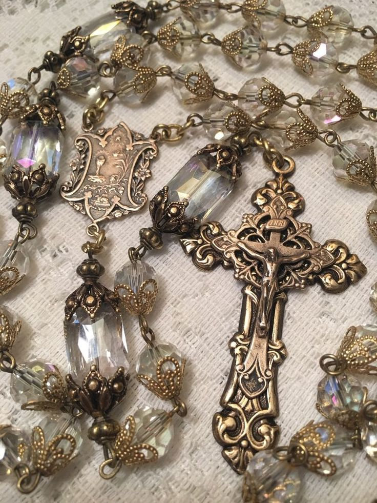 COMMUNION CONFIRMATION ROSARY ~ 8MM AURORA BOREALIS CRYSTAL ~ FRENCH BRONZE