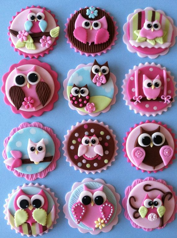 Made out of fondant, completely edible. I owl you to have these beautiful pastel colors owl toppers. These toppers were shared 675 times all around