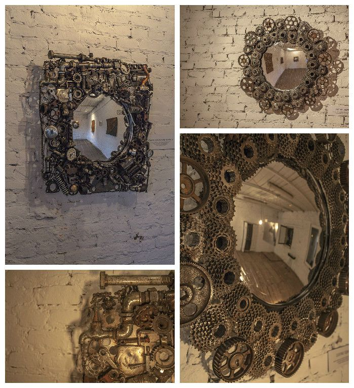 Mirrors have been made from pieces of steel garbage include bicycle, car parts or some industry machines or daily house tools. Style is done in Steampunk s