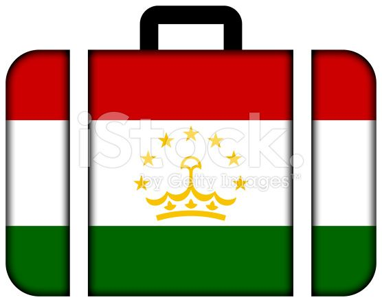 Suitcase with Tajikistan Flag royalty-free stock photo