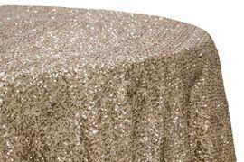 "Glitz Sequins 120"" Round Tablecloth - Champagne"