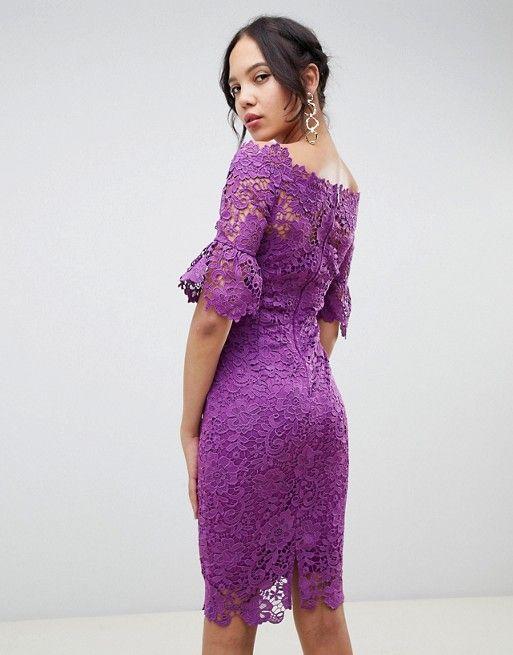 1e2da1cc032b Paper Dolls Tall off shoulder crochet midi dress with frill sleeve ...