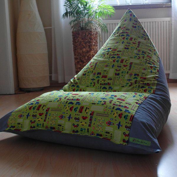Sitzsäcke - Sitzsack *Spielzeugautos* grün-grau 75x115cm - ein Designerstück von Biene2014-Sabine bei DaWanda