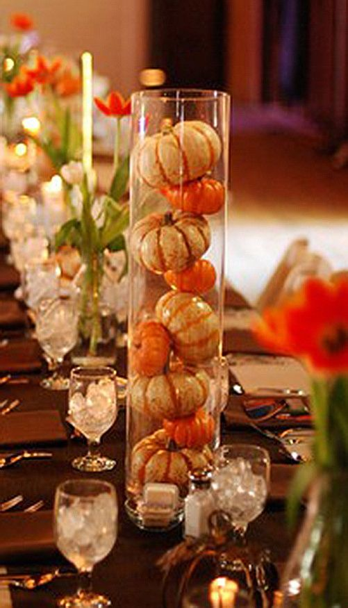 Fall Decorating Ideas On Pinterest | Glass and Gourds | Fall Decorating Ideas
