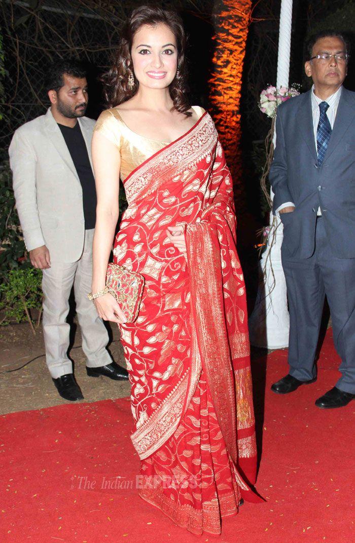 2 Feb, 14: Diya Miorza at Wedding Reception of Hema & Dharmendra's daughter Ahana & Vaibhav Vora