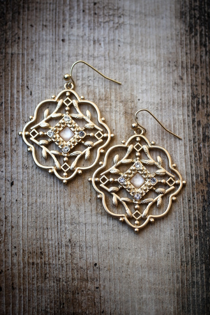 Victorian Brotch Earrings  $16.00  This antique style earring set comes on a tag with the Refugee Beads story.     5 CM from top of hook to bottom. 3.7 CM wide.      Photo: Esther JuLee Photography . Ruth Ann North