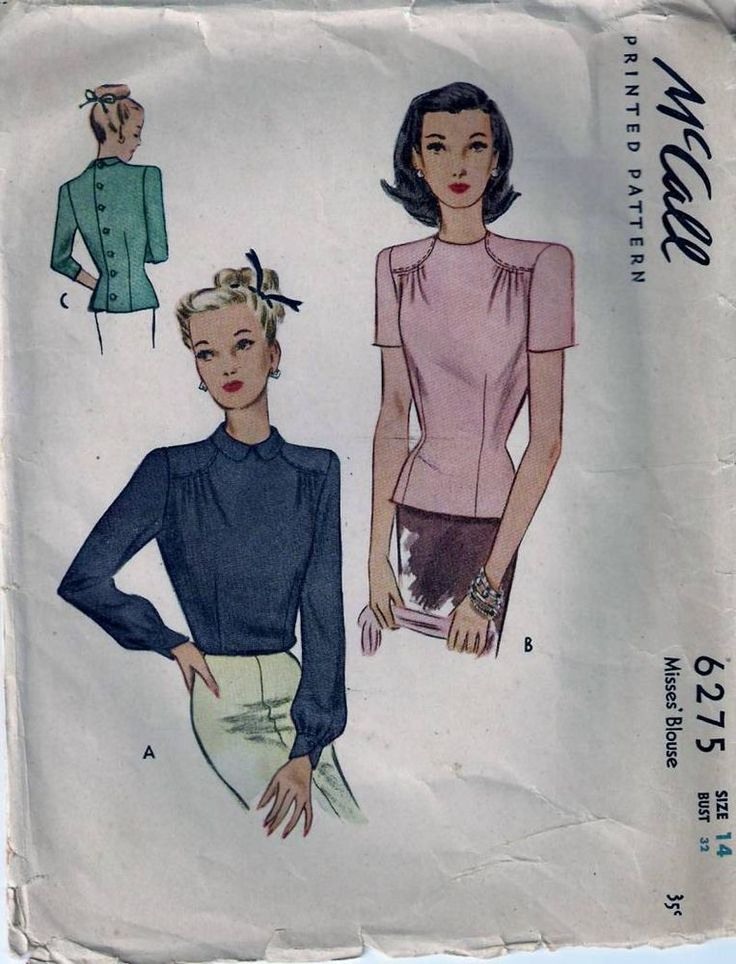 Vintage 40s Fitted Blouse Sewing Pattern 6275 Size 14 B32