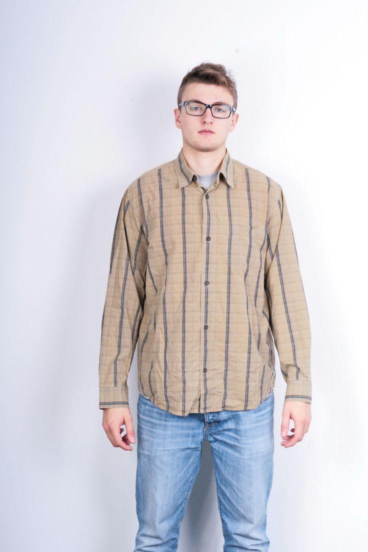 Mexx Mens XL Casual Shirt Check Brown Cotton Buttons Down