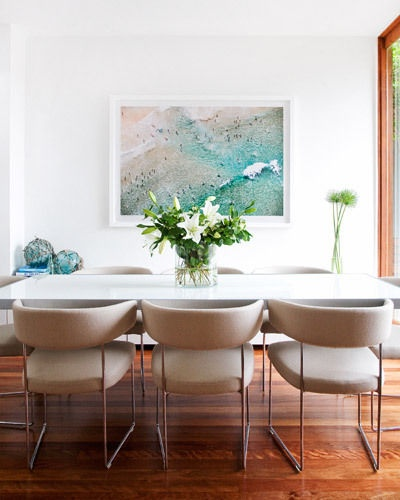 A photographic print of Bondi Beach by Aquabumps is an apt introduction to Andrea and Justin's beach-side home. The B Italia dining table designed by Monica Armani, from Space, is a modern classic while Andreu World 'Tauro' chairs from Ke-Zu introduce sophistication and softness to the room.