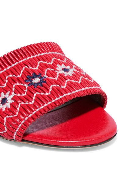 Tabitha Simmons - Embroidered Leather Slides - IT39.5