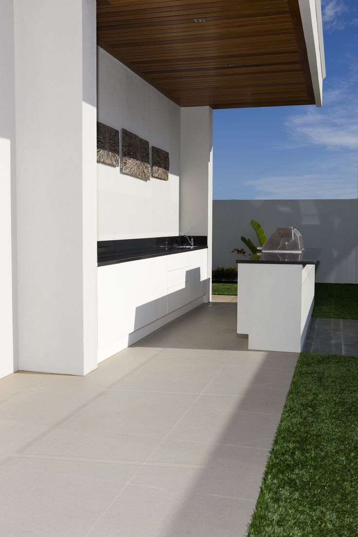 True outdoor living requires an outdoor kitchen. This minimalist design features the Alto Ash Textured tile from Beaumont Tiles. You can view our outdoor product range here: http://www.beaumont-tiles.com.au/AllProducts.aspx?group=1&groupname=Tiles&catid=OUTD&catname=Outdoor%20Tiles