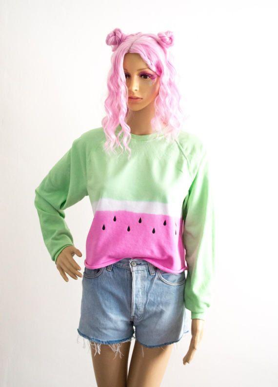 Tie Dye Sweater Watermelon S/M/L/XL Coachella Festival Summer EDM Plur 90s Grunge Cute Jumper Pastel Hipster Kawaii Tumblr Gift For Her