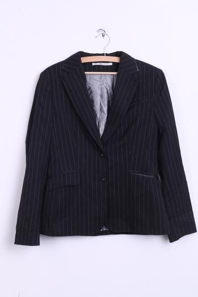 Tommy Hilfiger Womens 8 S Jacket Blazer Single Breasted Wool Black Striped - RetrospectClothes