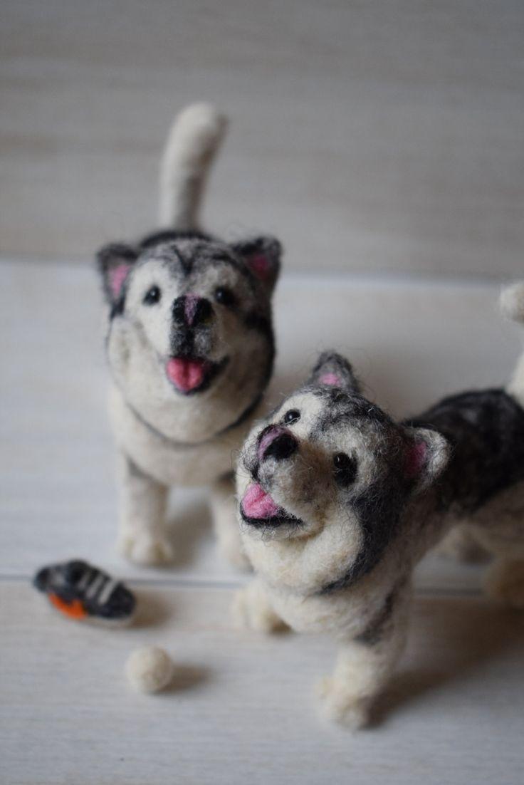Custom perro escultura aguja fieltro - retrato de mascotas - animales - Bajo pedido de miranns en Etsy