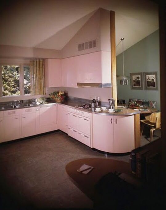 Pink kitchen in Pace Setter house - Photography by Maynard Parker, 1949... still pretty up to date