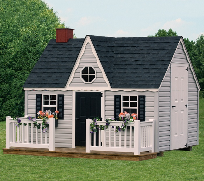 """Colors to paint our playhouse, minus the """"Victorian"""" trim.  Light gray, black & white."""