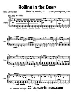 Rolling in the Deep de Adele Partitura para piano fácil. Easy Piano Sheets…