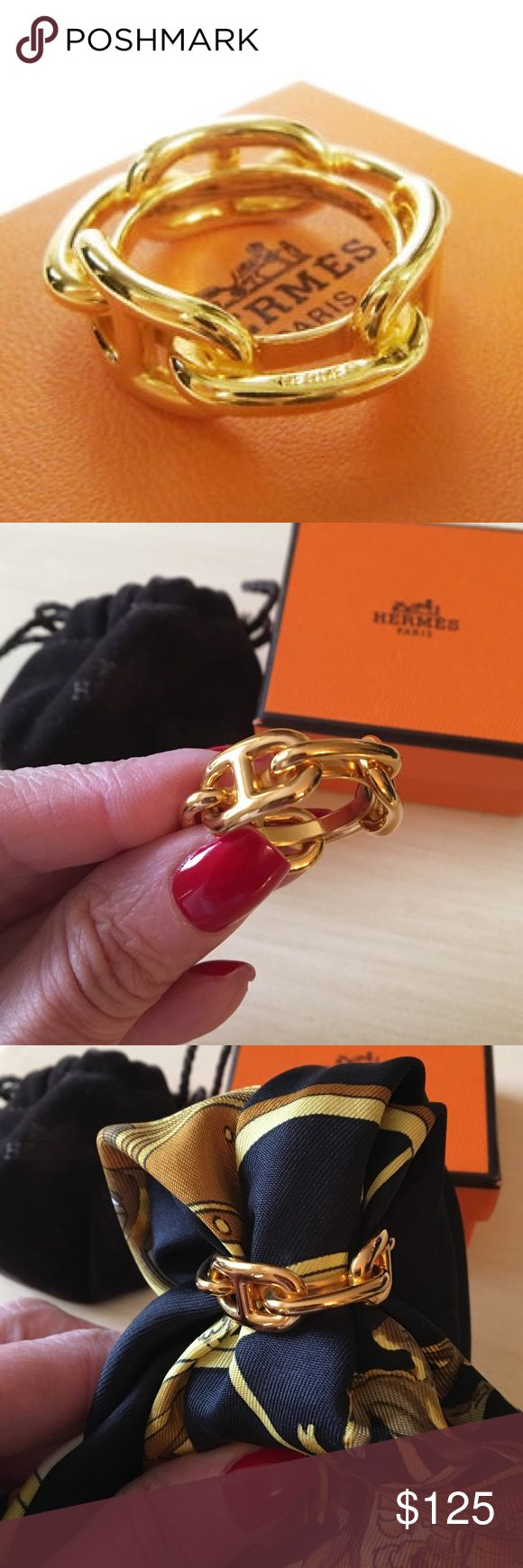 Hermes Chain D'Ancre Goldtone Scarf Ring Authentic and in original box and pouch. Never worn. A timeless classic. Hermes Accessories
