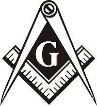 Das Symbol                   der Freimaurerei, ein Zirkel mit einem rechten                   Winkelmass