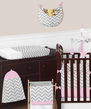 Pink and Gray Zig Zag Baby Bedding | Grey Chevron Print Nursery | Free Shipping - Order your accessories and #cribbedding today. You can also add any of them to your #babyshower #giftregistry!