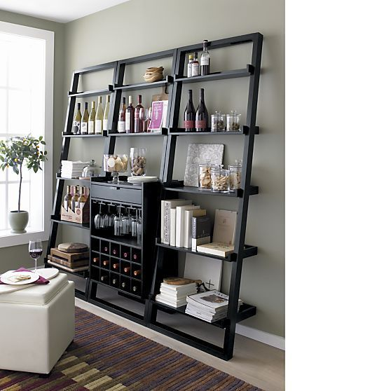 Crate and Barrel Sloane leaning bookcase