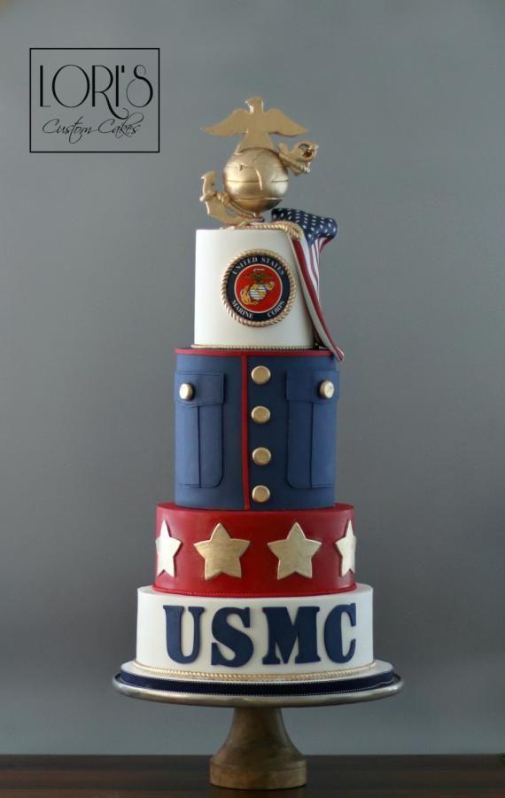 Pleasing Marine Corp Ball Cake By Lori Mahoney Loris Custom Cakes Birthday Cards Printable Trancafe Filternl