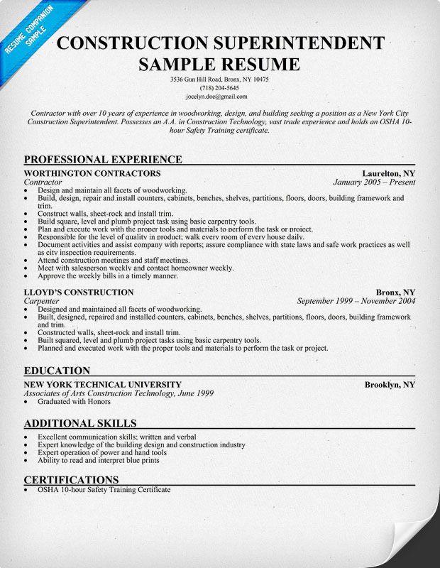 construction job resume objective