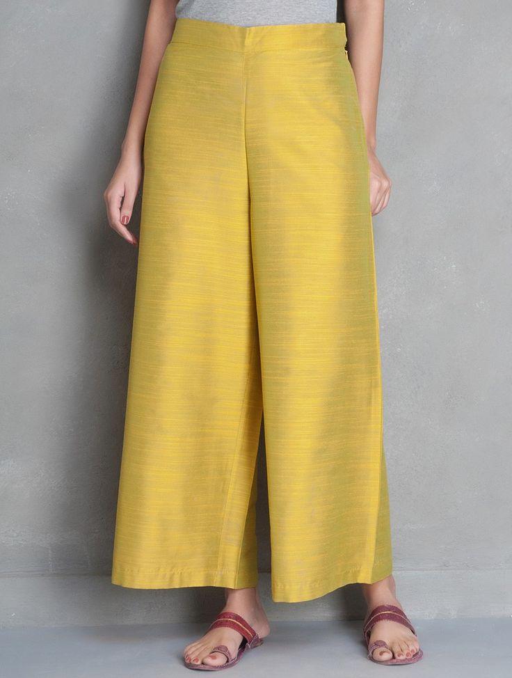 Buy Mustard Yellow Elasticated Waist Cotton Silk Palazzos Apparel Pants & Skirts Desert Imprints Sanganeri Hand Block Printed Kurtas and More Online at Jaypore.com