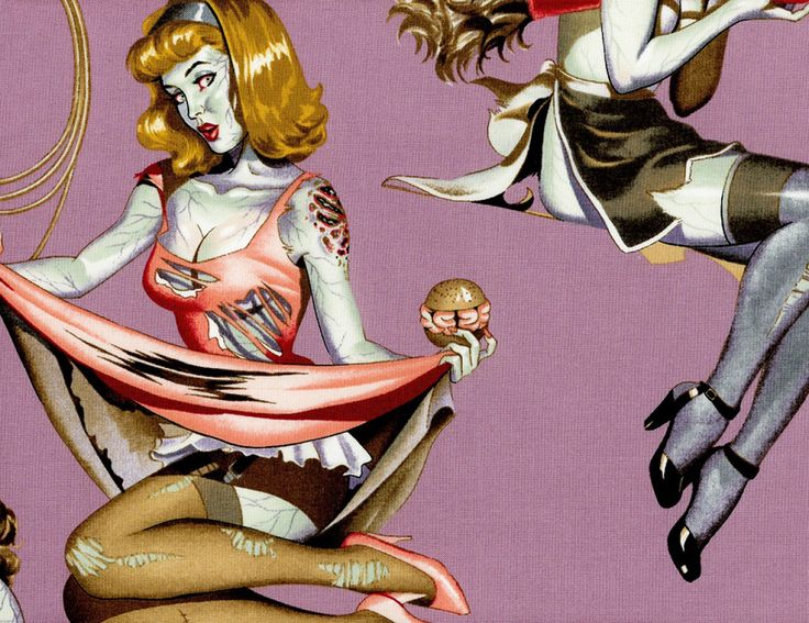 Alexander Henry Beauty and Brains Mauve Zombie Pin Up Girls