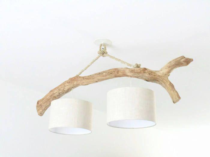 Lustre plafonnier bois flotté Lin 28cm création unique