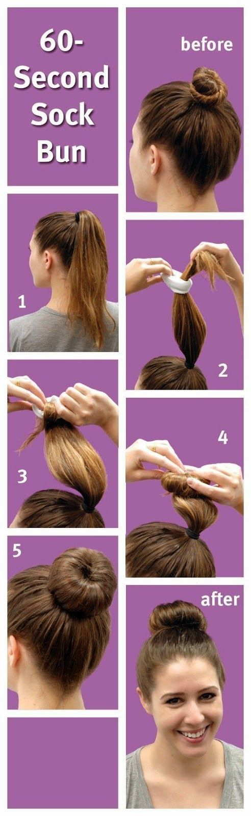 60-Second Sock Bun Military bun for long/thick hair without using a sock - good idea. I have been doing buns for worki...